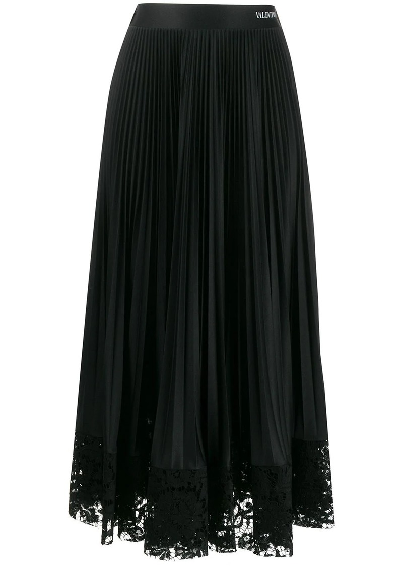 Valentino lace trim pleated skirt