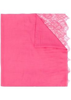 Valentino lace trim textured scarf