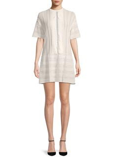 Valentino Lace-Trimmed Textured Shift Dress