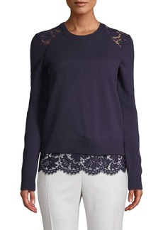 Valentino Lace Wool Blend Sweater