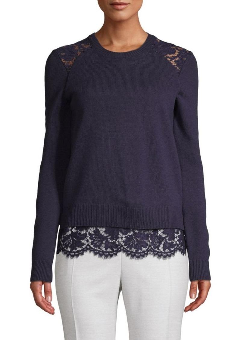 Valentino Lace Wool Blend Sweater