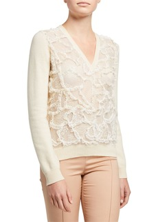 Valentino Lace Wool/Cashmere Sweater