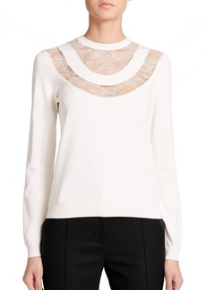 Valentino Lace-Yoke Sweater