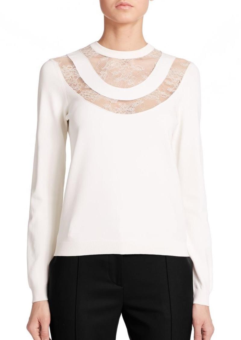 Valentino Lace-Yoke Sweater