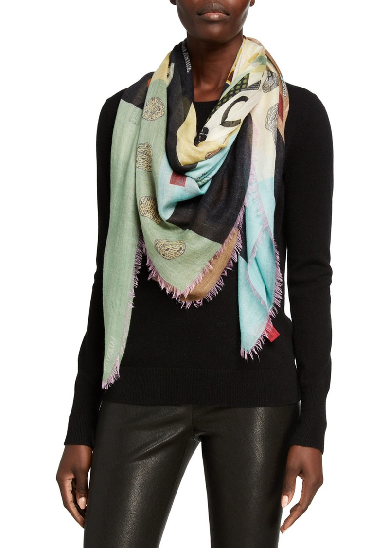 Valentino Large Printed Cashmere/Silk Scarf