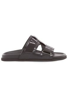 Valentino Leather & Rubber Sandals W/logo Straps