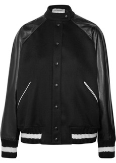 Valentino Leather And Appliquéd Wool-blend Bomber Jacket