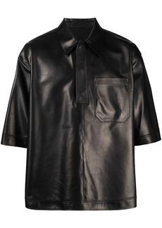 Valentino leather short-sleeve polo shirt