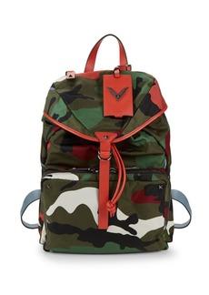 Valentino Leather-Trim Camo Backpack