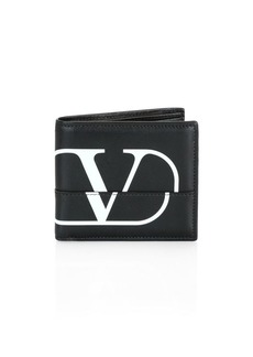 Valentino Garavani V Logo Leather Bi-Fold Wallet
