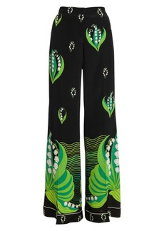 Valentino Lily Of The Valley Silk Pants