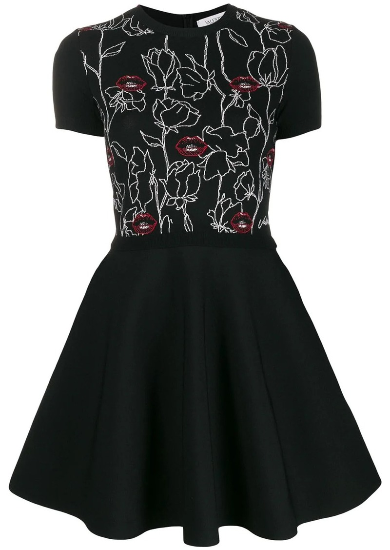 Valentino lips embroidered short dress