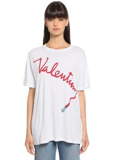 Valentino Lipstick Printed Cotton Jersey T-shirt