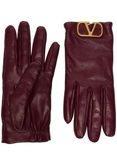 Valentino logo-embellished leather gloves