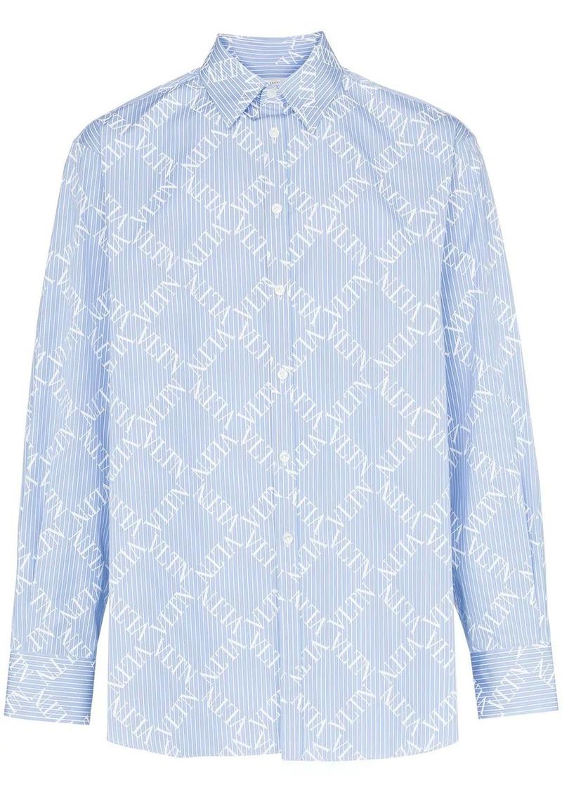 Valentino logo grid print cotton shirt