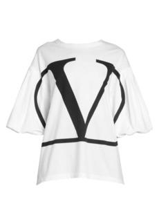 Valentino Logo Jersey Flutter Sleeve Tee
