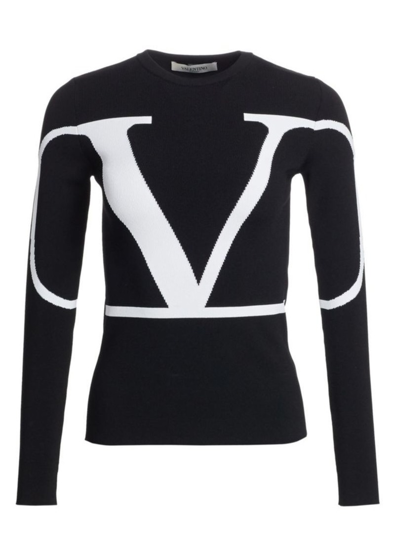 Valentino Logo Knit Long Sleeve Sweater