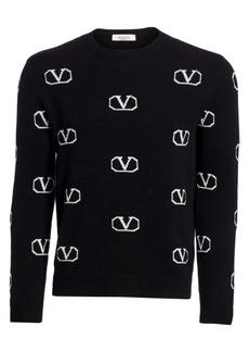 Valentino Logo Lurex Knit Cashmere Sweater