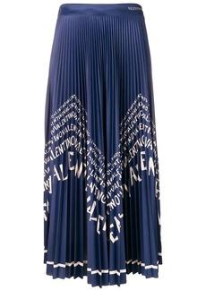 Valentino logo pleated maxi skirt