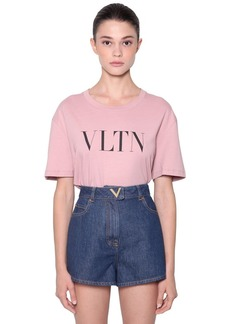 Valentino Logo Printed Cotton Jersey T-shirt