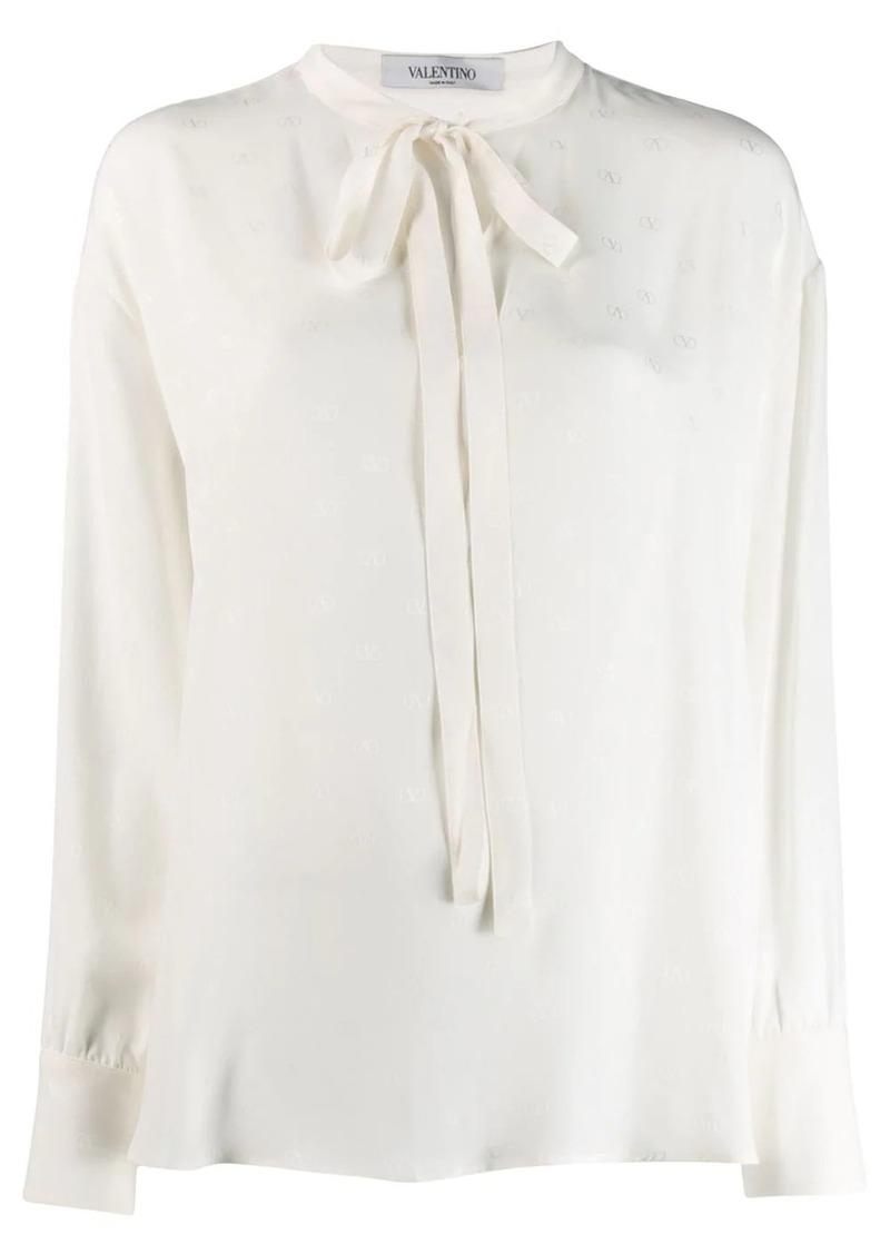 Valentino logo pussy bow blouse