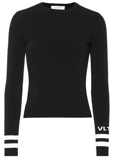 Valentino Logo ribbed knit sweater
