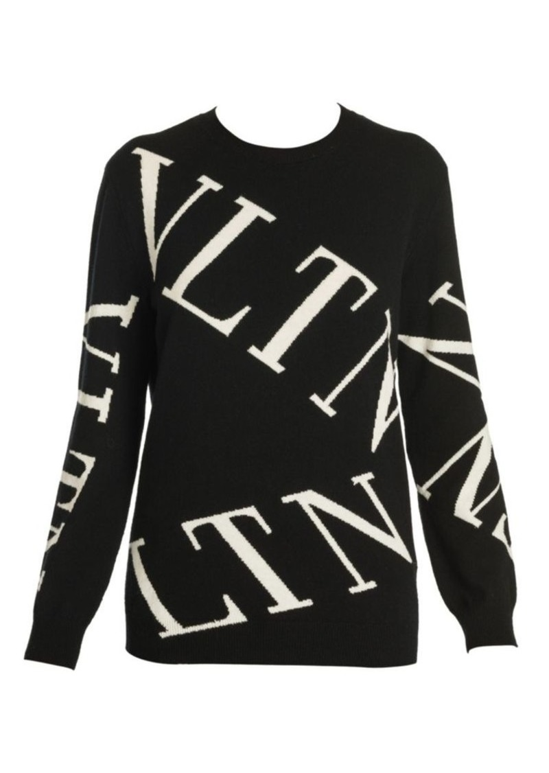 Valentino Logo Virgin Wool & Cashmere Crewneck Sweater