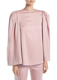 Valentino Long Bell-Sleeve Jewel-Neck Cady Blouse