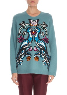 Valentino Long-Sleeve Cashmere Fenice Embroidered Sweater