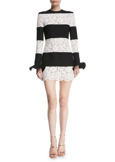 Valentino Long-Sleeve Crepe & Lace Stripe Mini Dress