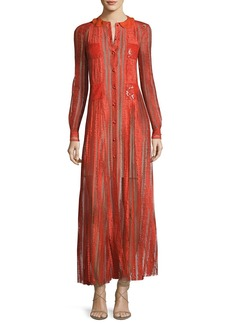 Valentino Long-Sleeve Embroidered Chiffon Gown