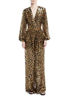 Valentino Long-Sleeve Flocked Velvet Animalier Jumpsuit