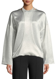 Valentino Long-Sleeve Hammered Metallic Blouse w/ Harness