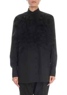 Valentino Long-Sleeve Lace Ruffled Bibbed Cotton Blouse