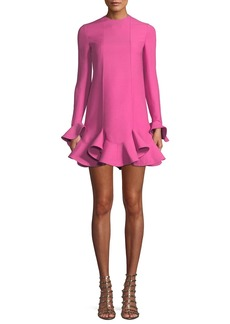 Valentino Long-Sleeve Layered Ruffle Hem Crepe Couture Dress