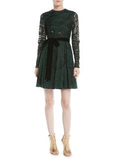 Valentino Long-Sleeve Lurex® Tiger A-Line Dress