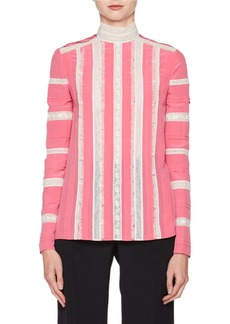 Valentino Long-Sleeve Mock-Neck Crepe de Chine with Lace Inset Blouse