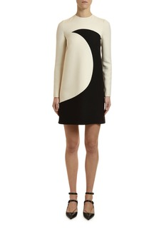 Valentino Long-Sleeve Moon-Print Crepe Couture Dress