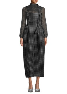Valentino Long-Sleeve Polka-Dot Maxi Dress