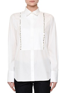 Valentino Long-Sleeve Rockstud-Trim Blouse  White