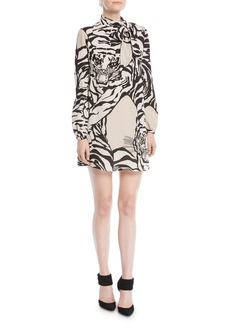 Valentino Long-Sleeve Short Tiger-Print Dress in Georgette Silk