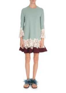 Valentino Long-Sleeve Stretch Knit Macrame Dress