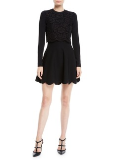 Valentino Long-Sleeve Stretch-Viscose Mini Knit Dress w/ Heavy Lace Top