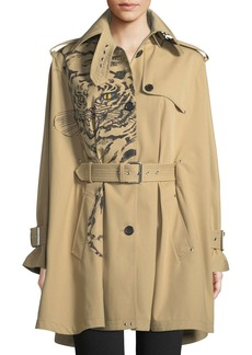 Valentino Long-Sleeve Tiger-Print Cotton Gabardine Cape Jacket