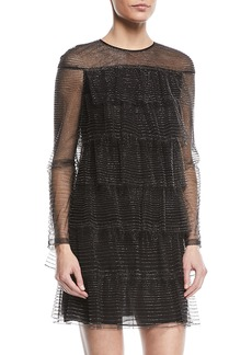 Valentino Long-Sleeve Tulle Illusion Multitiered Dress
