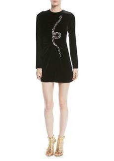Valentino Long-Sleeve Velvet Cocktail Dress w/ Embellished Snake