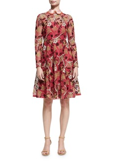 Valentino Lotus Guipure Lace Long-Sleeve Dress