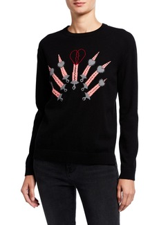 Valentino Love Blade Intarsia Crewneck Sweater  Black