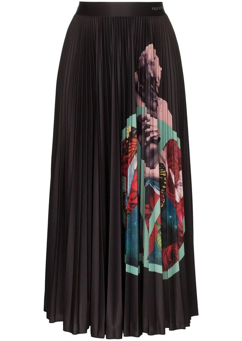 Valentino x Undercover VLOGO Lovers print pleated midi skirt