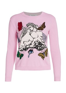Valentino Lovers Intarsia Crewneck Sweater